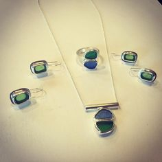 """@lisajdesigns """"Finished with this pretty little lot! Custom design for a customer with sea glass that her mother gave her! Giving these as gifts to her two daughters!…"""""""