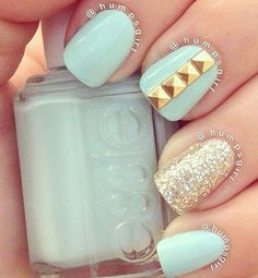 17 Fashionable Mint Nail Designs for Summer: #11. Mint Nail Design with Studs