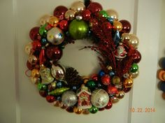 Beautiful Christmas glass ornament wreath by ForeverYoursCustom