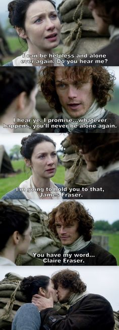 """""""I promise... whatever happens, you'll never be alone again"""" - Jamie and Claire #Outlander"""
