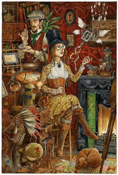 The Toymaker's Workshop by ~3-hares (steampunk art)