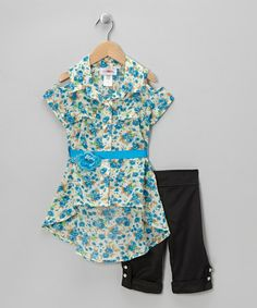 Look what I found on #zulily! Blue Floral Belted Tunic & Black Capri Pants - Toddler & Girls by Citlali's Choice #zulilyfinds