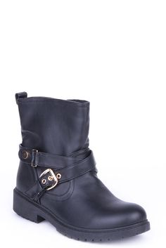 Biker Style Boots with Buckle Detail