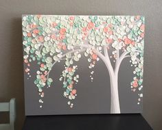 Mint Green and Peach Coral Art Textured Tree Nursery Art Mint Green, Coral and Gray Textured Nursery Art Original Acrylic Painting on Canvas Size: select at checkout Depth: Arte Coral, Coral Art, Diy Canvas, Acrylic Painting Canvas, Button Art On Canvas, Painted Canvas, Canvas Ideas, Canvas Crafts, Canvas Paintings
