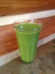 Kale Smoothie: 3 Kale leaves ends removed, 1 cup Pineapple chunks, 1c mango, 3 stalks Celery, 1/2 cup Water