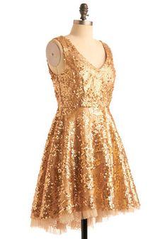 holiday dress 105 $ Striking Gold Dress, #ModCloth