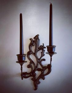 2 candle Gothic Victorian vintage brass wall sconce.