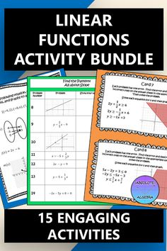 Engage your Algebra or 8th grade students with this 15 activity, linear function resource bundle. Use it all year long! From error analysis to games to calculator activities, your students will be competing, collaborating, and learning. There are more than 230 problems in this bundle including:5 Error Analysis Activities, 2 $100,000 Pyramid Activities,1 Mini Task Card Activity, 1 Worksheet Activity, 2 Find the Pattern Activities, 1 Calculator Activity, and 1 Quiz, Quiz, Trade Activity #linear High School Algebra, Algebra 1, Math School, Escape Room, 8th Grade Math, Ninth Grade, Seventh Grade, Graphing Activities, Numeracy