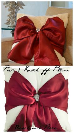 DIY Pier 1 Knock off Red Bow Pillow!! Such a Beautiful and Elegant Way to Dress up your Pillows for the Holidays!!