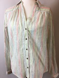 Anthropologie by Holding Horses Sz 10 Pink Stripe Blouse Tunic NWT Button Front  | eBay