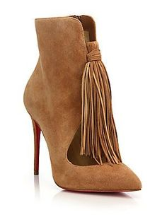 Christian Louboutin Fringed Suede Booties Mens New Years Eve Outfit Suede Booties, Bootie Boots, Fringe Booties, Ankle Booties, Cute Shoes, Me Too Shoes, Pumps, Shoes Heels, Designer Shoes