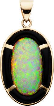 Opal, Black Onyx, Gold Pendant The pendant features an oval-shaped opal measuring 30.00 x 17.00 x 6.40 mm, enhanced by carved black onyx, se...