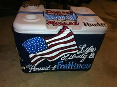 Loving this cooler Formal Cooler Ideas, Greek Crafts, Coolest Cooler, Birthday Wishes For Myself, Cooler Painting, Frat Coolers, Ice Ice Baby, Delta Gamma, Keep Cool