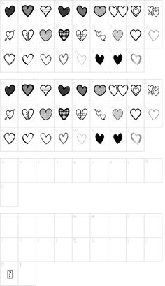 Hearts St font character map