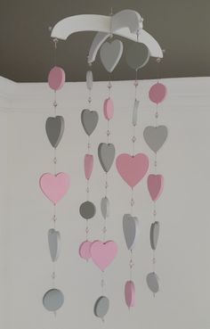 Our Heart Mobile in Pink and Grey is the perfect combination to compliment any Girls Nursery, for that elegant and simple touch.
