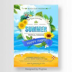 Summer, summer posters, summer style, blue sea background, fresh, summer banquet, beach party, beach vector, flowers, grass, green