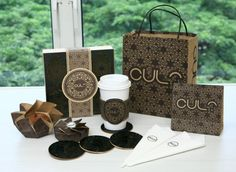 """""""As a part of my packaging class at Nanyang Polytechnic School of Design in Singapore we were asked to create a new cafe brand/identity and to design the packaging. The design was inspired by victorian patterns and laser cutting was used in making the coaster and the P.O.P. box."""