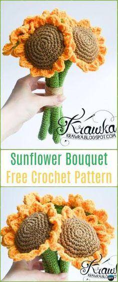Crochet Sunflower Bouquet Free Pattern-Crochet 3D Flower Bouquet Free Patterns