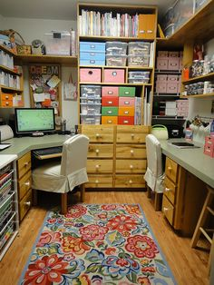 Craft Room - Like that the magazines are up high.  Good idea. and is that a Vera Bradley rug?