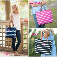 This cute stripe monogram purse is perfect for your summer wardrobe. This Monogram Purse goes great with a comfy summer dress or your go to jeans and tee outfit. The stripe monogram handbag is sure to be your new favorite purse. Additional Info:  13 L x 5.25 W x 14 H Polyester Inside Lining Monogrammed Purses, Monogram Tote, Floppy Hats, Monogram Styles, Black And Navy, Stripes, Shoulder Bag, Tote Bag, Leather