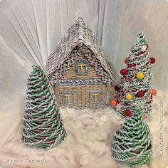 Поделка изделие Новый год Рождество Плетение Новогодние поделки Бумага Трубочки бумажные фото 1