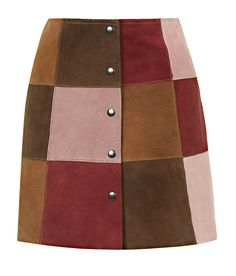 Patch work suede skirt