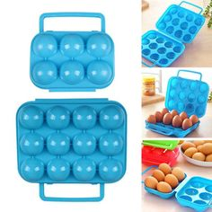 Camping Hiking Portable 15 Egg Folding Box Clear Container Storage Holder UK QW
