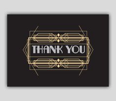 $10.58 Art Deco Thank You Card PDF Instant Download