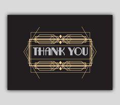 Art Deco Thank You Card PDF Instant Download par ComputerArtNerd