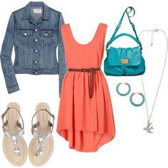 Turquoise & Coral - You might even get me in a dress with this outfit