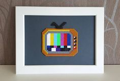 Vintage style Retro TV Glitch Hama Beads Perler Beads Framed 8