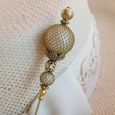 SEXY FAUX PEARL - OLD GOLD FINISH HATPIN - Lace Hat pin ❤❤❤