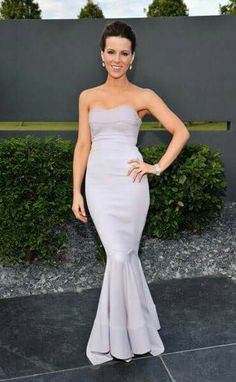 The British actress glows on native soil as she attends Elton John`s White Tie and Tiara Ball in London in a perfectly curvy lavender gown, Chopard jewels and upswept hair. Formal Gowns, Strapless Dress Formal, Simple Dresses, Nice Dresses, Lavender Gown, British Costume, Bridesmaid Dresses, Prom Dresses, Bridesmaids