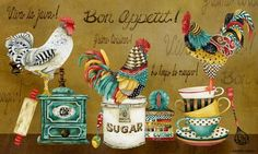 Bon Appetit Roosters Majestic Art Print by Jennifer Lambein Rooster Painting, Rooster Art, Rooster Kitchen Decor, Kitchen Art, Arte Do Galo, Foto Transfer, Images Vintage, Chicken Art, Chickens And Roosters