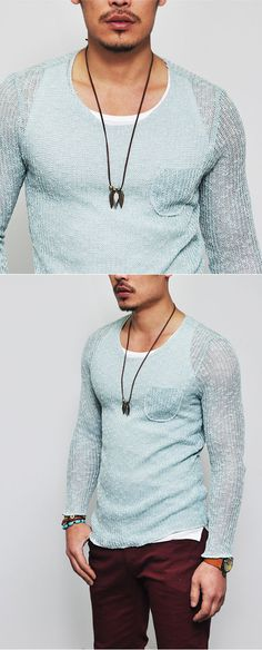 Tops :: Knits :: Pocket Accent Slim See-through Knit-Knit 50 - Mens Fashion Clothing For An Attractive Guy Look