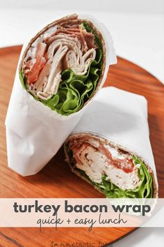 Turkey Bacon Wrap (Simple & Delish!) - fANNEtastic food Lunch Recipes, Healthy Recipes, Bacon Sandwich, Turkey Bacon, Healthy Juices, Wrap Sandwiches, Bacon Wrapped, Perfect Food, Meal Prep
