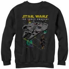Star Wars The Force Awakens Episode VII Millennium Falcon and X-Wing Mens Lightweight Hoodie