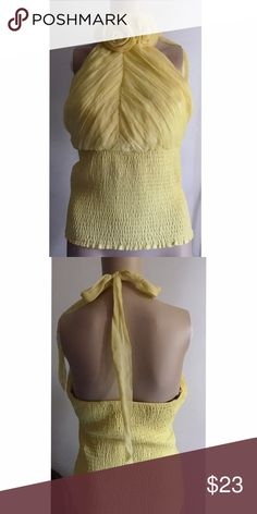 "Bebe flower neck silk halter top S Gorgeous top perfect for a night out! Ties at the neck with elastic waist and back. Approx 32"" bust. In excellent pre-loved condition. 100% silk.✅offers❌trades/PP 💰bundles save 20% off 2+ bebe Tops"