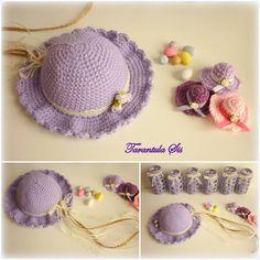 Crochet lilac summer hat. Baptism decoration. Crochet jar covers. Mini summer hats favors. Crochet Jar Covers, Baptism Decorations, Summer Hats, Favours, Christening, Lilac, Crochet Necklace, Crochet Hats, Mini