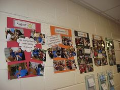 Classroom timeline... too cute!  I need to do this with the 100's of photos that I take throughout the year!