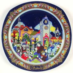 """I Heard the Bells on Christmas Day"" Bjørn Wiinblad, 1988 Rosenthal Christmas Carol Plate (1983-1994)"