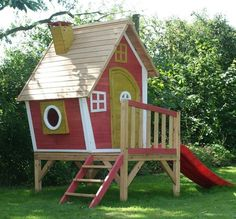 Popular children to play house with slide in your own garden build design