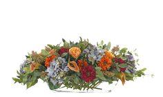 Hydrangea | Rose (BF111): Hydrangea Rose, Blue Orange, Glass Trough,
