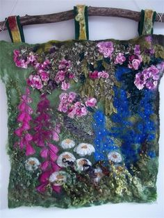 MarmaladeRose: Wet felted, embroidered and applique wall hanging. Commission.
