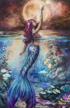 """""""Celestial Goddess"""" Paper Print : Celestial Goddess art print by Lindsay Rapp. Our prints are produced on acid free papers using archival inks to guarantee that they last a lifetime without fading or loss of color. All art prints include a white bord Mermaid Artwork, Mermaid Drawings, Mermaid Paintings, Art Drawings, Fairy Paintings, Unique Paintings, Fantasy Kunst, Fantasy Art, Lindsay Rapp"""