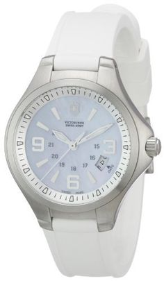 Victorinox Swiss Army Women's 241468 Base camp Blue Luminous Dial Watch Watch Victorinox Swiss Army. $341.95. •Quartz movement•Stainless steel case•Mother of pearl dial•White rubber strap•Water-resistant to 100 M (330 feet)