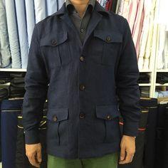 "aqatelier: "" Navy Safari jacket. linen from Spence Bryson #linen #safarijacket #spencebryson #LodgeofStrangeAfeminates #menswear #menstyle #sartorial """