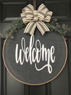 Spring Wreath for front door, Burlap Wreath, Hoop Wreath, Wreath for Front Door, Spring Wreat Christmas Crafts, Christmas Decorations, Burlap Door Decorations, Summer Door Decorations, Acorn Decorations, Christmas Vinyl, Xmas, Embroidery Hoop Crafts, Embroidery Designs