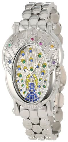 Brillier Women's 18-03 Royal Plume Peacock Inspired Swiss Genuine Gemstones Watch >>> For more information, visit image link.