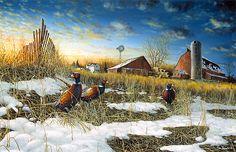 FIELD OF DREAMS I by Jim Hansel 11x15 Pheasants Combine Barn FRAMED ART PICTURE